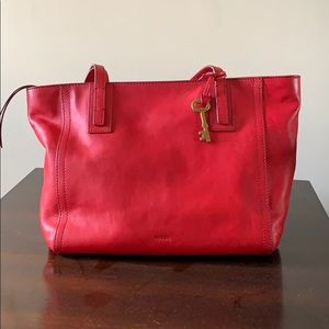 Red fossil purse